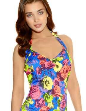 Freya Swimwear Floral Pop 3170 50'S Halter Tankini Top - Rainbow