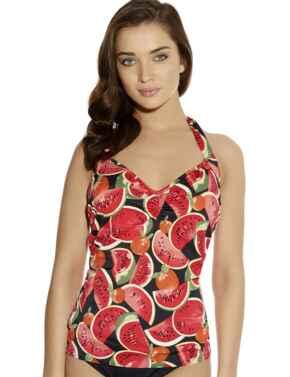 Freya Swimwear Watermelon 3209 Underwired Halter Tankini Top In Coral