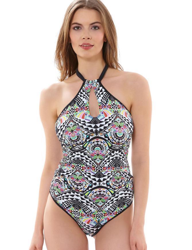 Freya Swimwear Zodiac 3923 Underwired High Neck Swimsuit - Black Multi Print