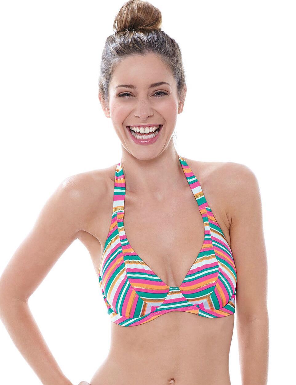 Freya Swimwear Beach Candy Underwired Non Padded Halterneck Bikini Top - Sherbet Multi