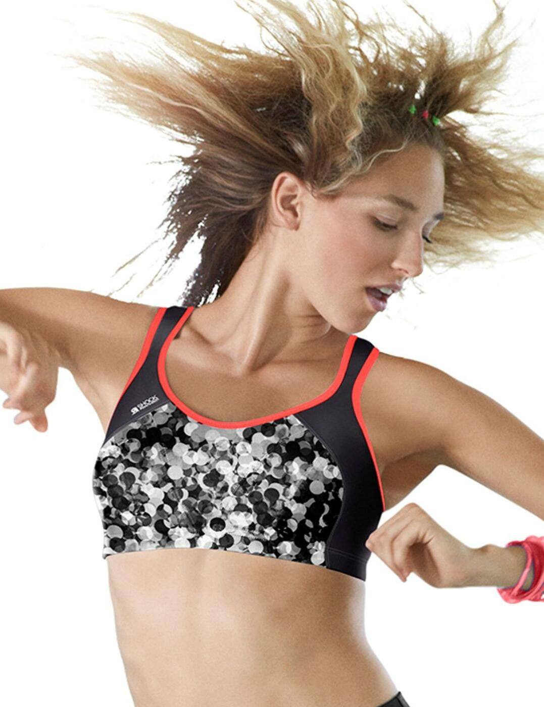 Shock Absorber Active Multi Sports Support Running Gym Bra Sports Bra - Black Bubble Print